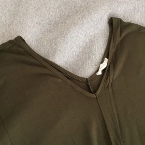 Reborn J Tops - NEW Olive Asymmetrical Hem Tunic